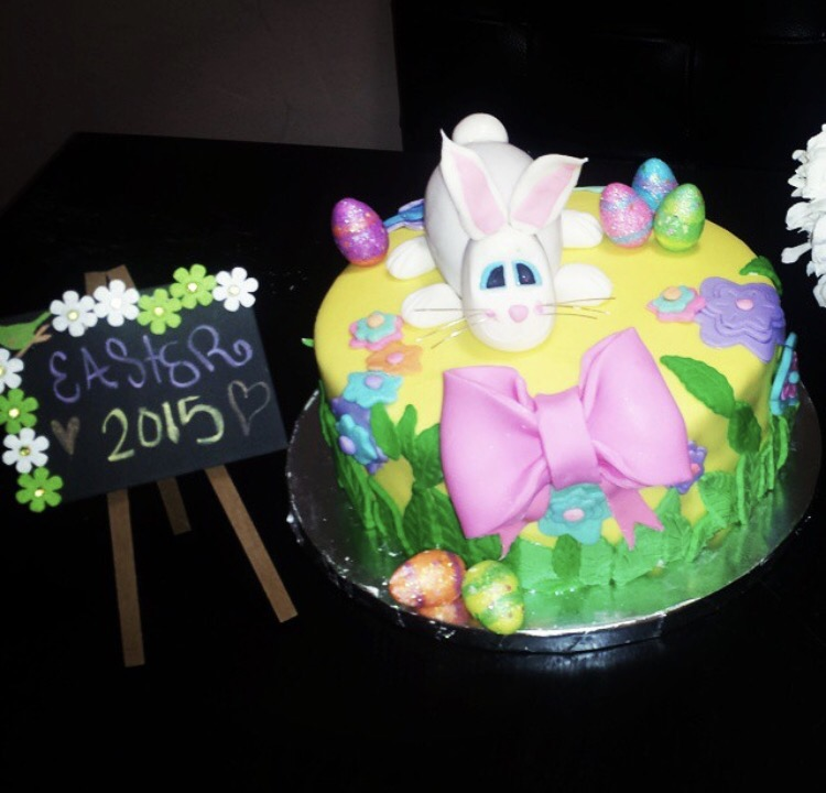 My very first fondant cake. Including fondant bunny!